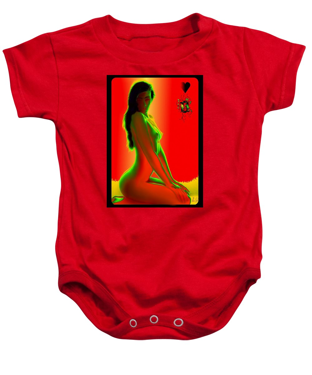 Nude Baby Onesie featuring the drawing Hearts Queen by Helmut Rottler