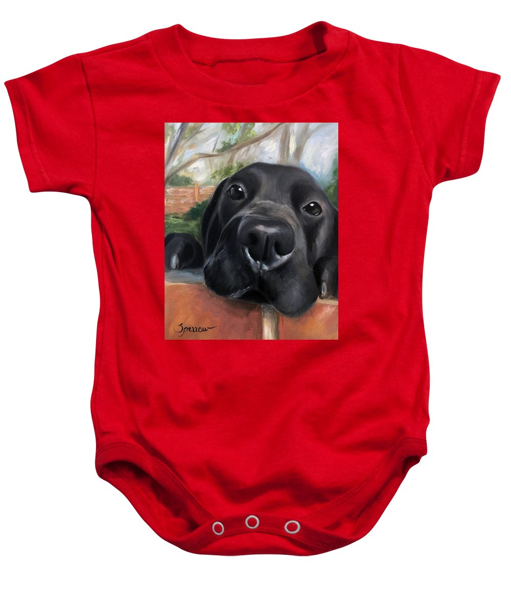 Black Lab Baby Onesie featuring the painting Hello by Mary Sparrow