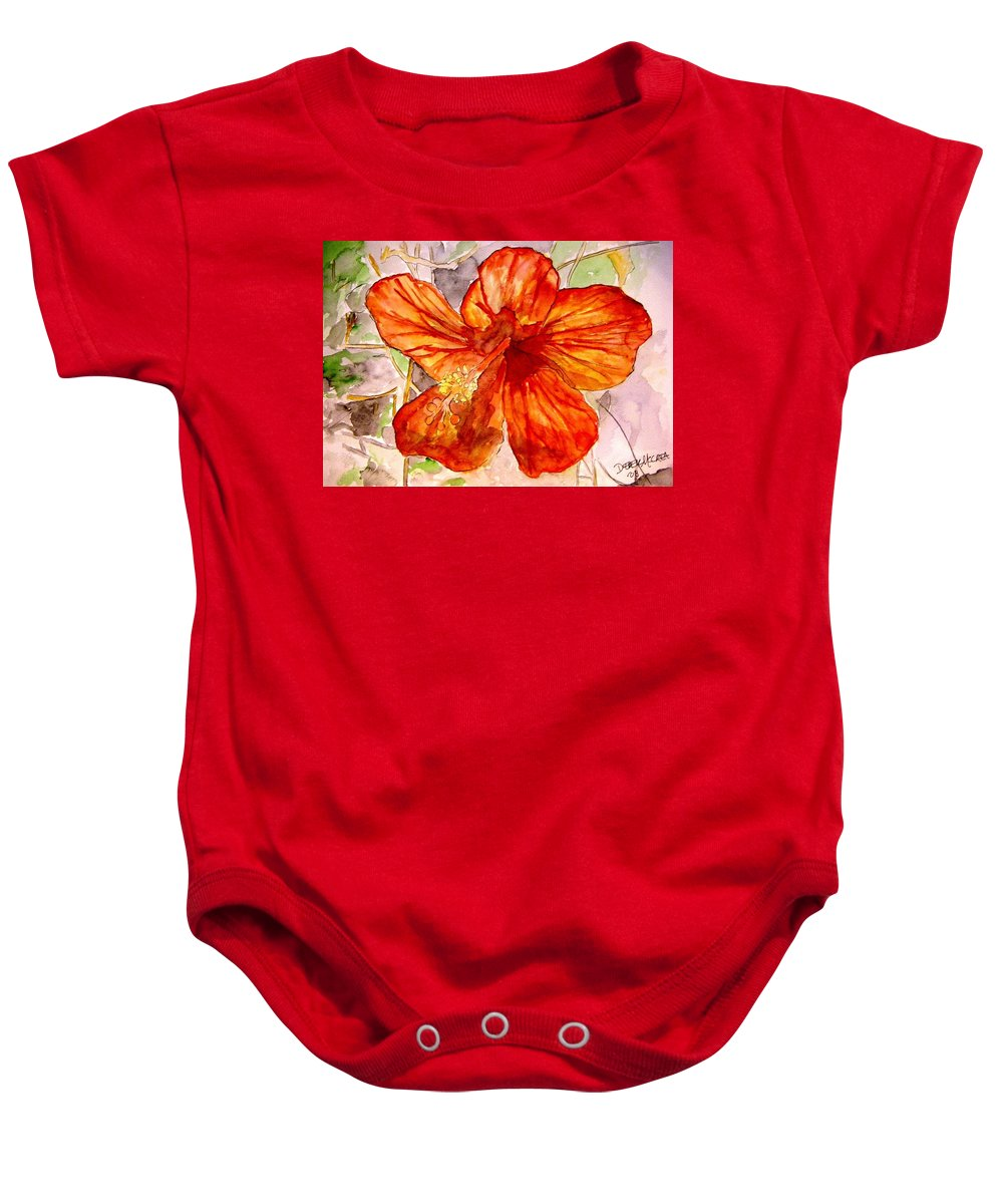 Hibiscus Baby Onesie featuring the painting Hibiscus 2 by Derek Mccrea