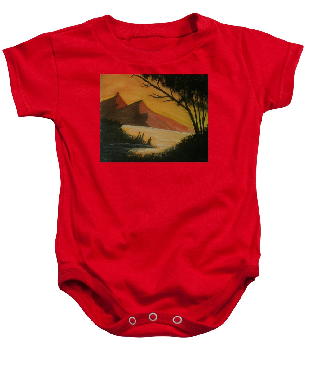 Landscape Baby Onesie featuring the painting Hills During Sunset by Monica Dahal