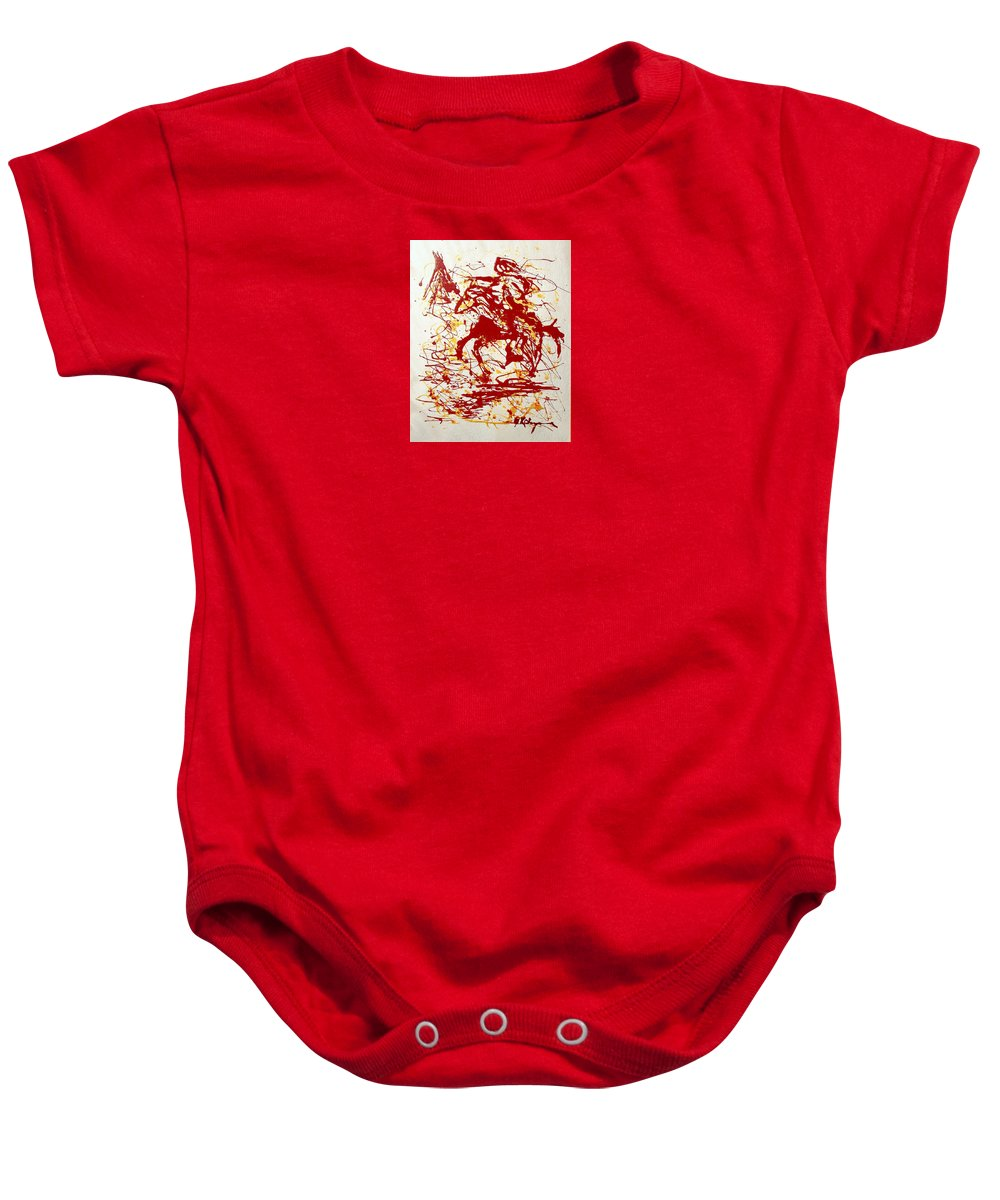 Indian Baby Onesie featuring the painting History In Blood by J R Seymour