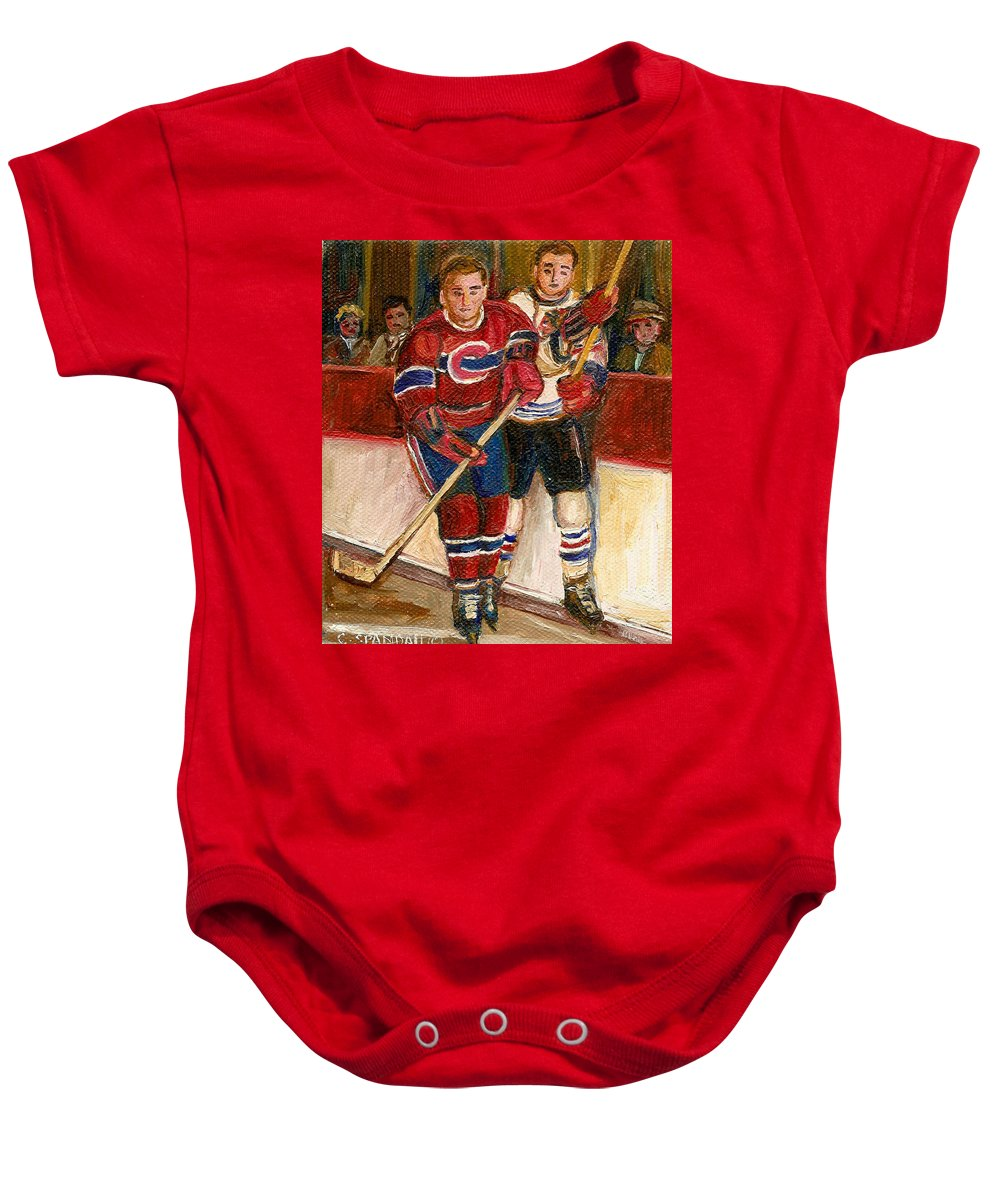 Hockey Baby Onesie featuring the painting Hockey Stars At The Forum by Carole Spandau