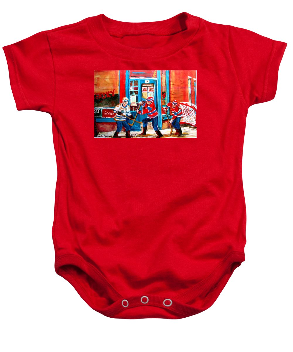 Wilenskys Baby Onesie featuring the painting Hockey Sticks In Action by Carole Spandau