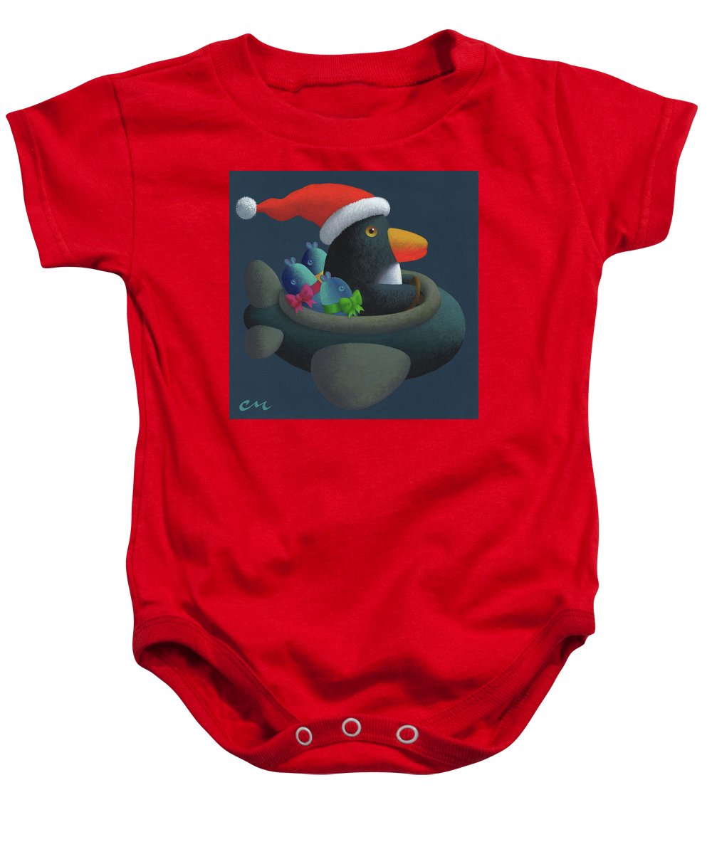 Penguin Baby Onesie featuring the painting Holiday Cheer by Chris Miles