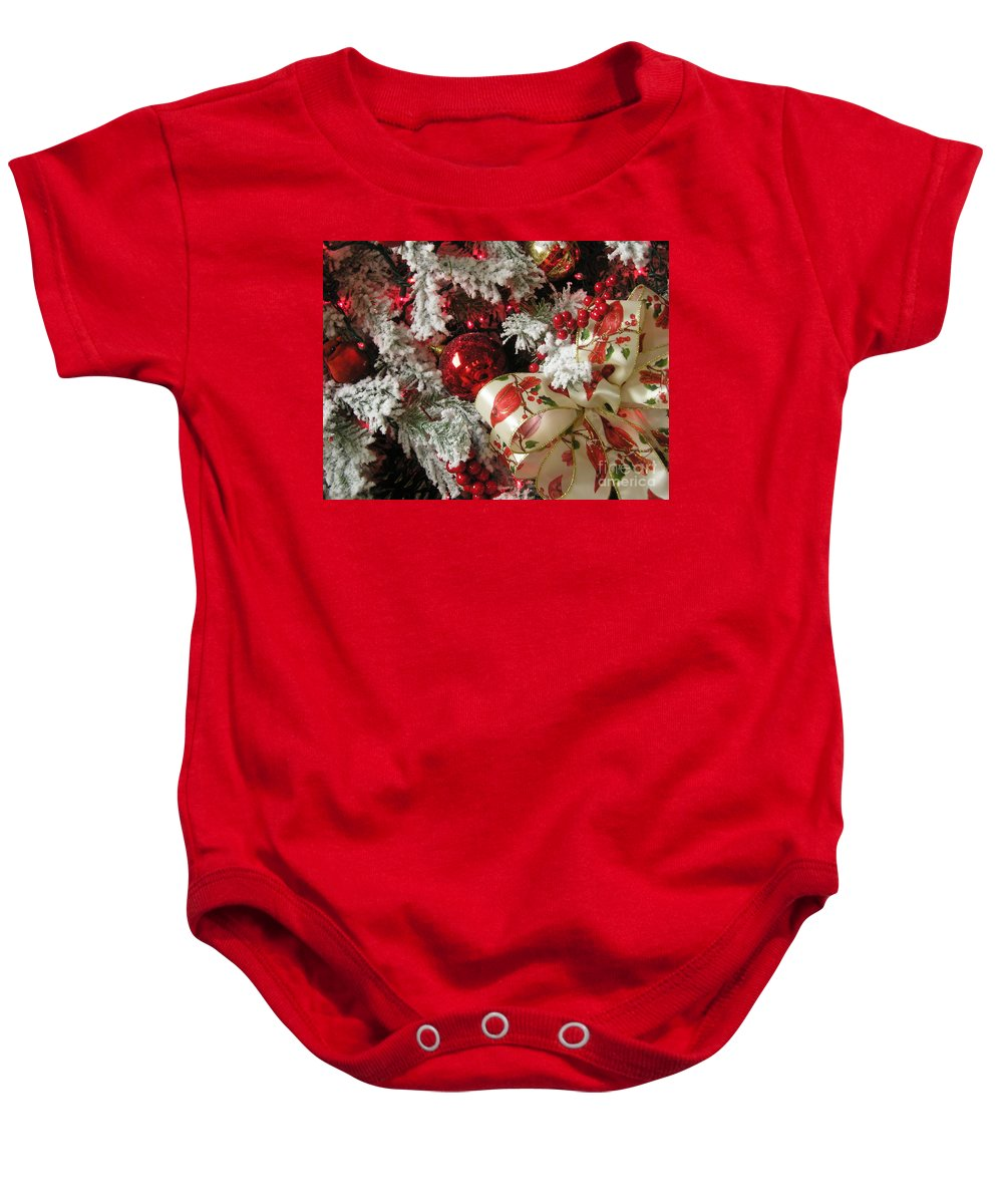 Tree Baby Onesie featuring the photograph Holiday Cheer I by Maria Bonnier-Perez