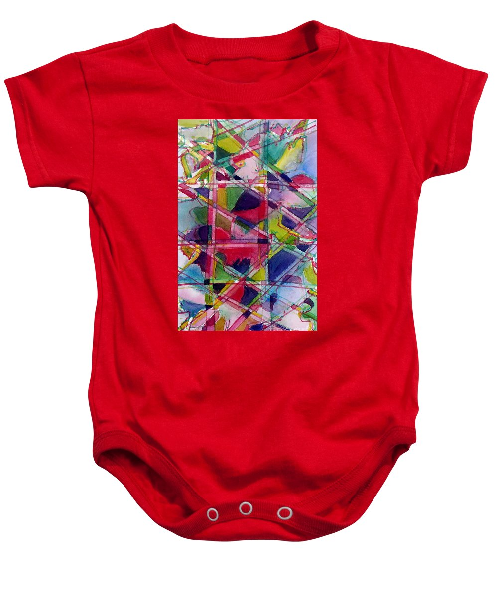 Abstract Baby Onesie featuring the painting Holiday Rush by Jan Bennicoff