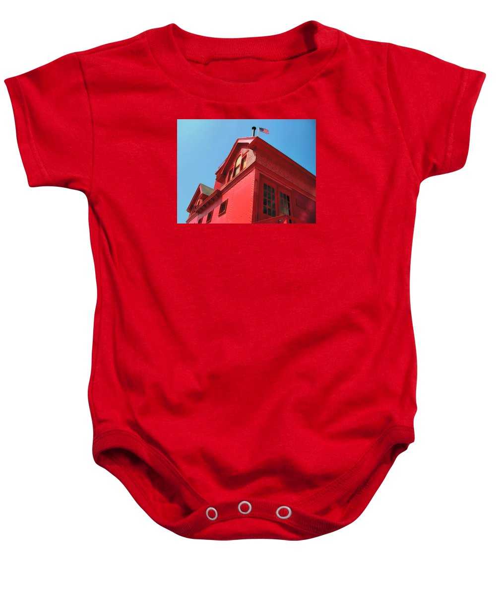 Windows Baby Onesie featuring the photograph Holland Harbor Light From The Bottom Up by Michelle Calkins