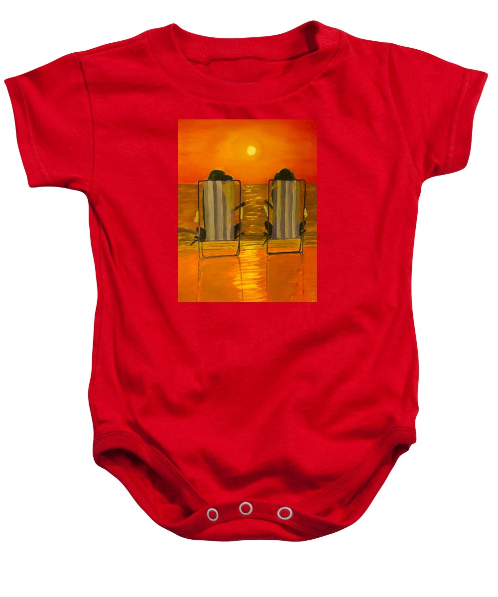 Black Lab Baby Onesie featuring the painting Hot Day At The Beach by Roger Wedegis