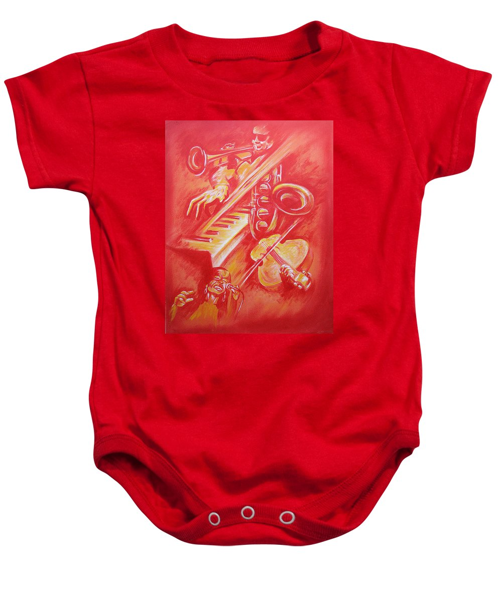 Jazz Music Instruments Singing Acrylic Canvas Baby Onesie featuring the painting Hot Jazz by Shaun McNicholas