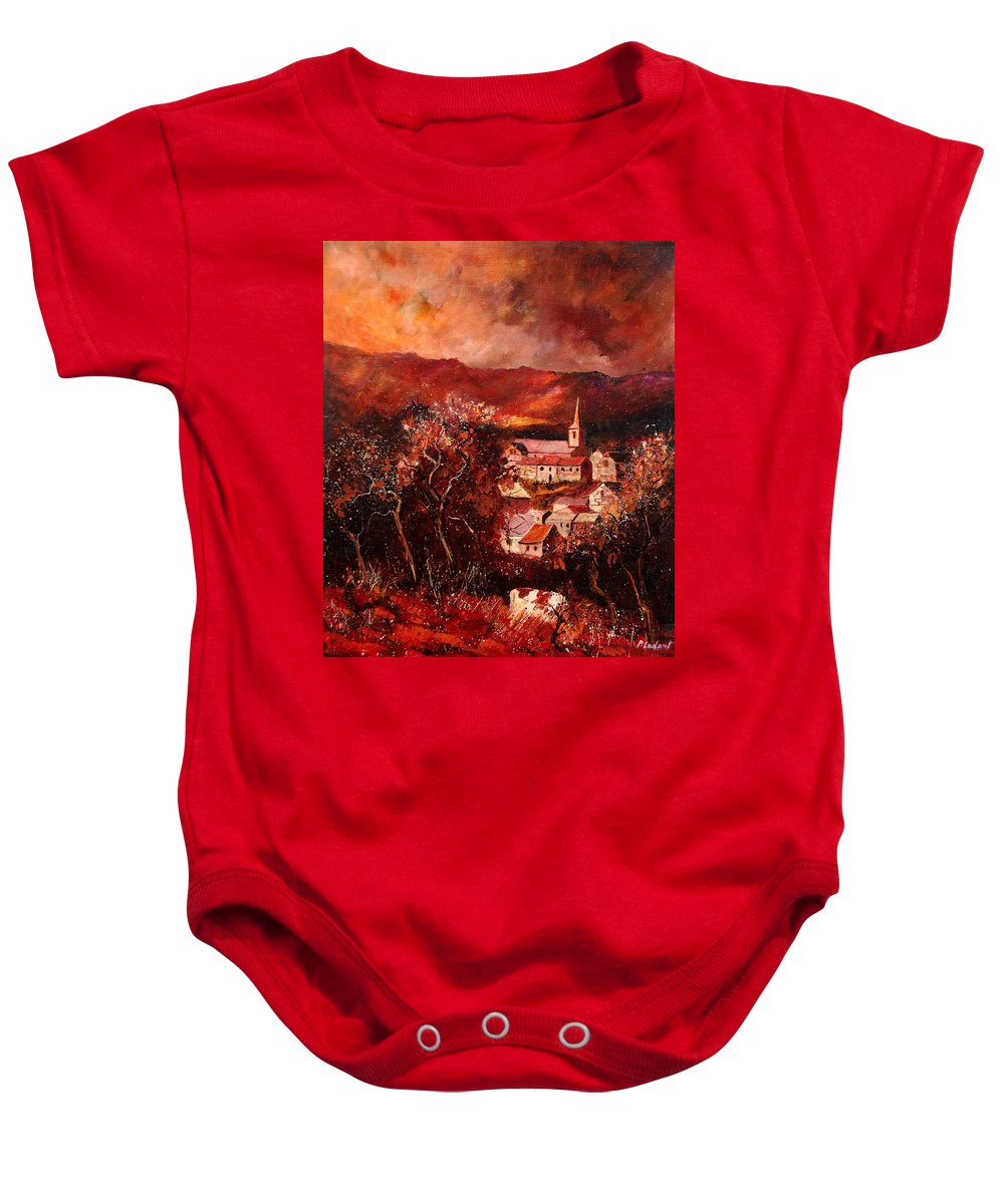 Tree Baby Onesie featuring the painting Hour Village 67 by Pol Ledent