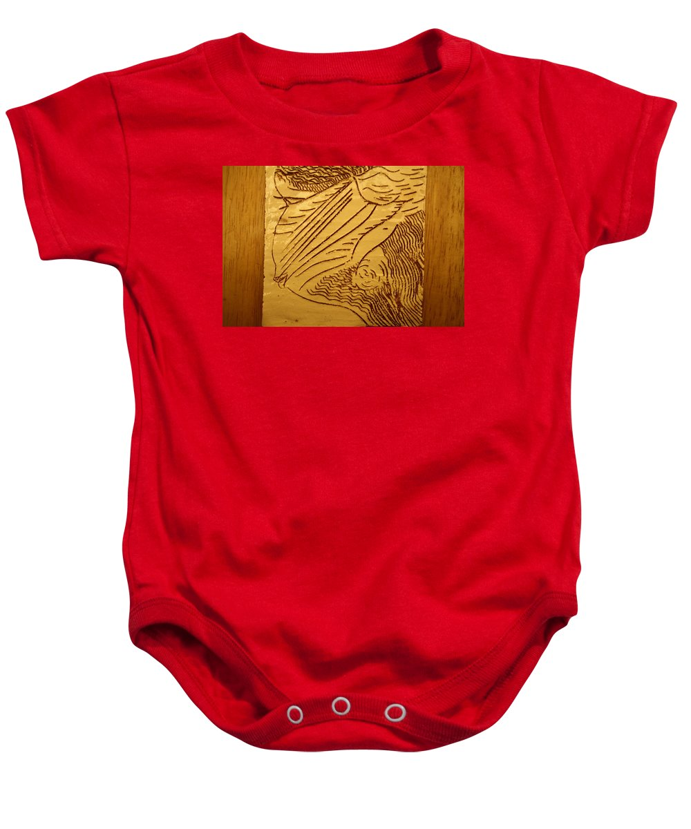 Jesus Baby Onesie featuring the ceramic art I See - Tile by Gloria Ssali