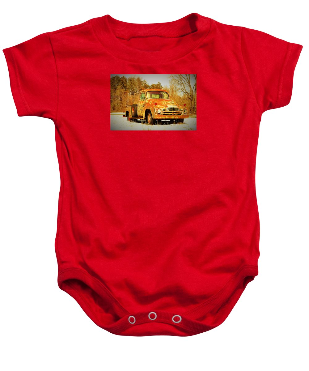 Old Truck Baby Onesie featuring the photograph I'm Just Gonna Stay Right Here by Sandra Bennett