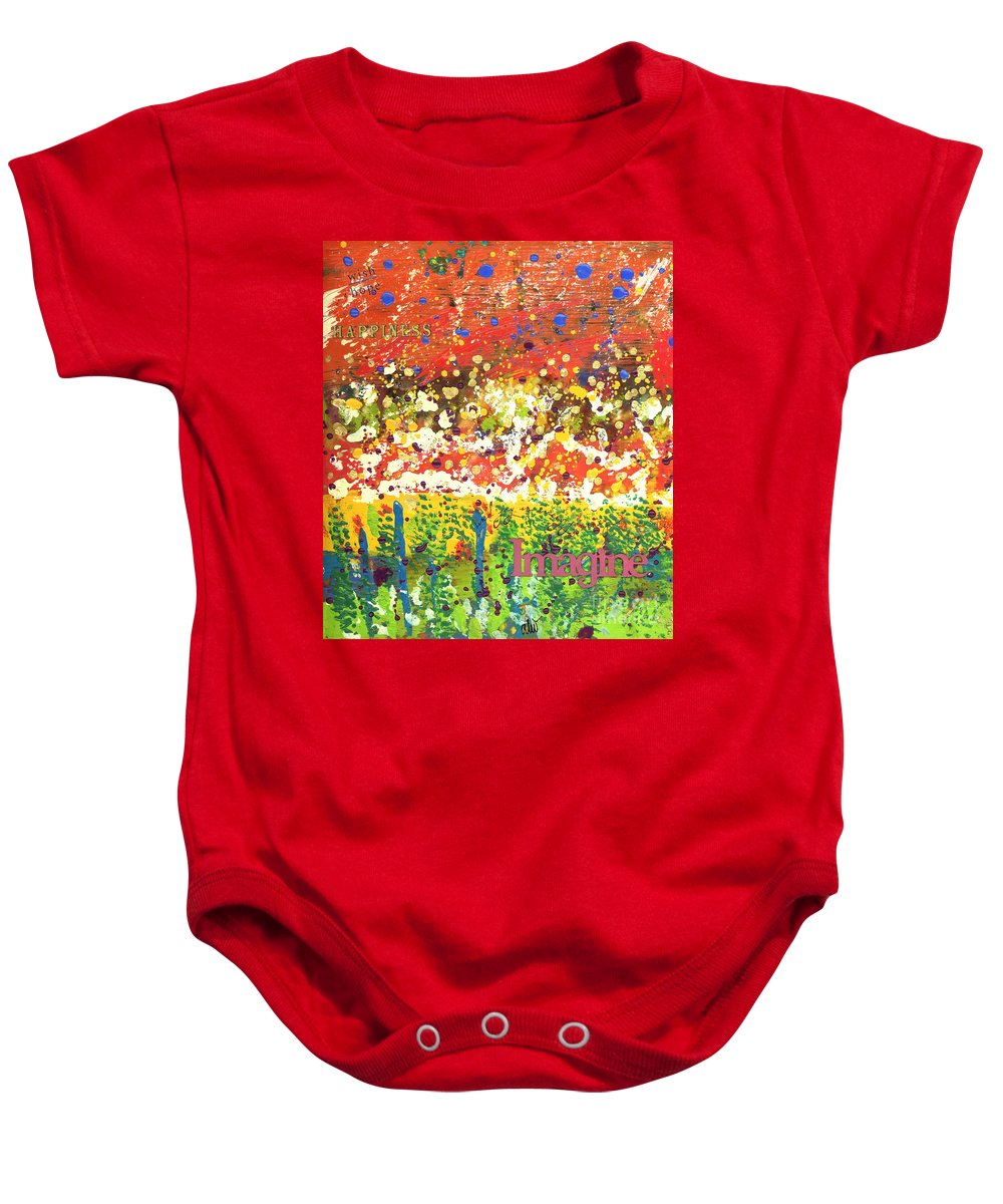 Wood Baby Onesie featuring the mixed media Imagine Happiness by Angela L Walker