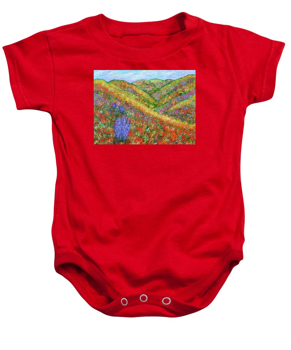 Fart Baby Onesie featuring the painting Impressionism- Flowers- Dreaming Of Spring by Kathy Symonds