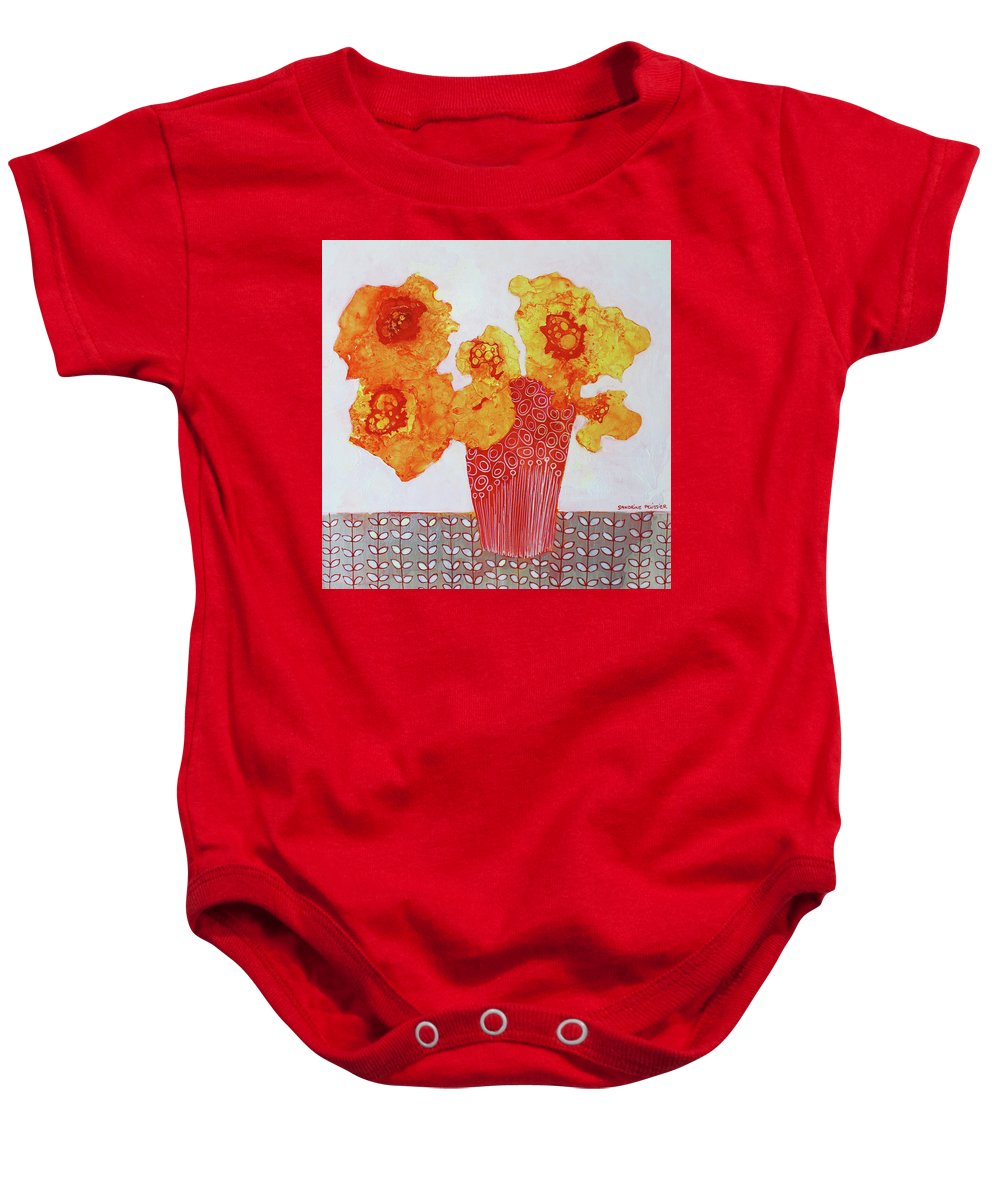 Abstract Flower Paintings Baby Onesie featuring the painting In Prague by Sandrine Pelissier