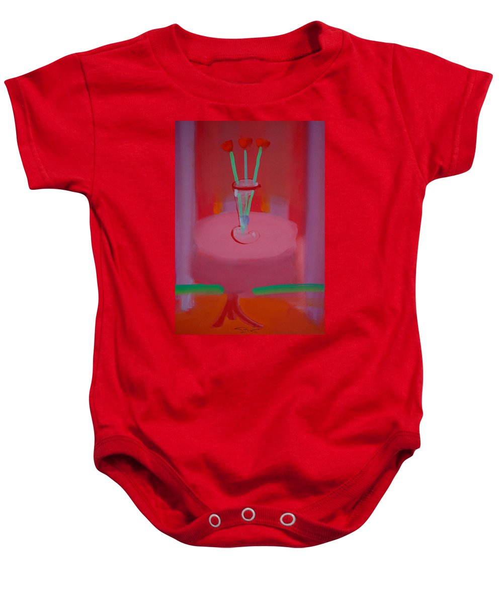 Vase Baby Onesie featuring the painting In The Red Room by Charles Stuart