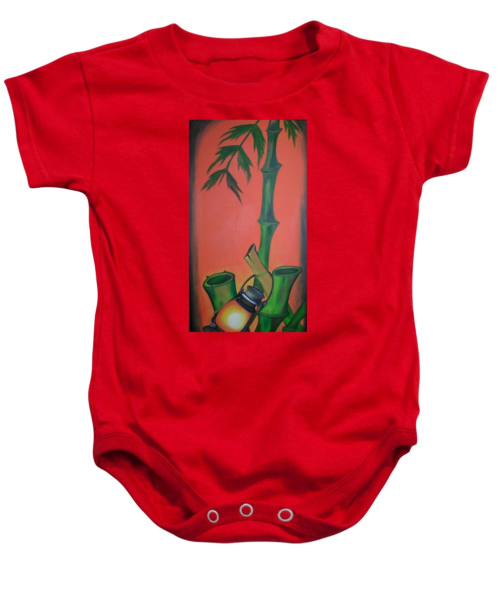 Indian Lamp Baby Onesie featuring the painting Indian Lamp by Riya Rathore