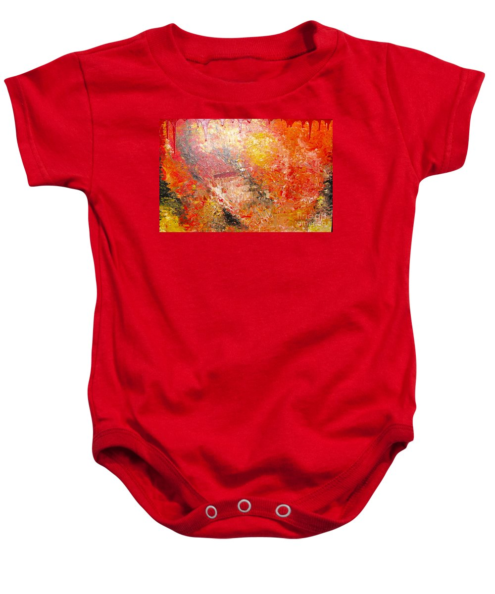 Red Baby Onesie featuring the painting Inferno by Jacqueline Athmann