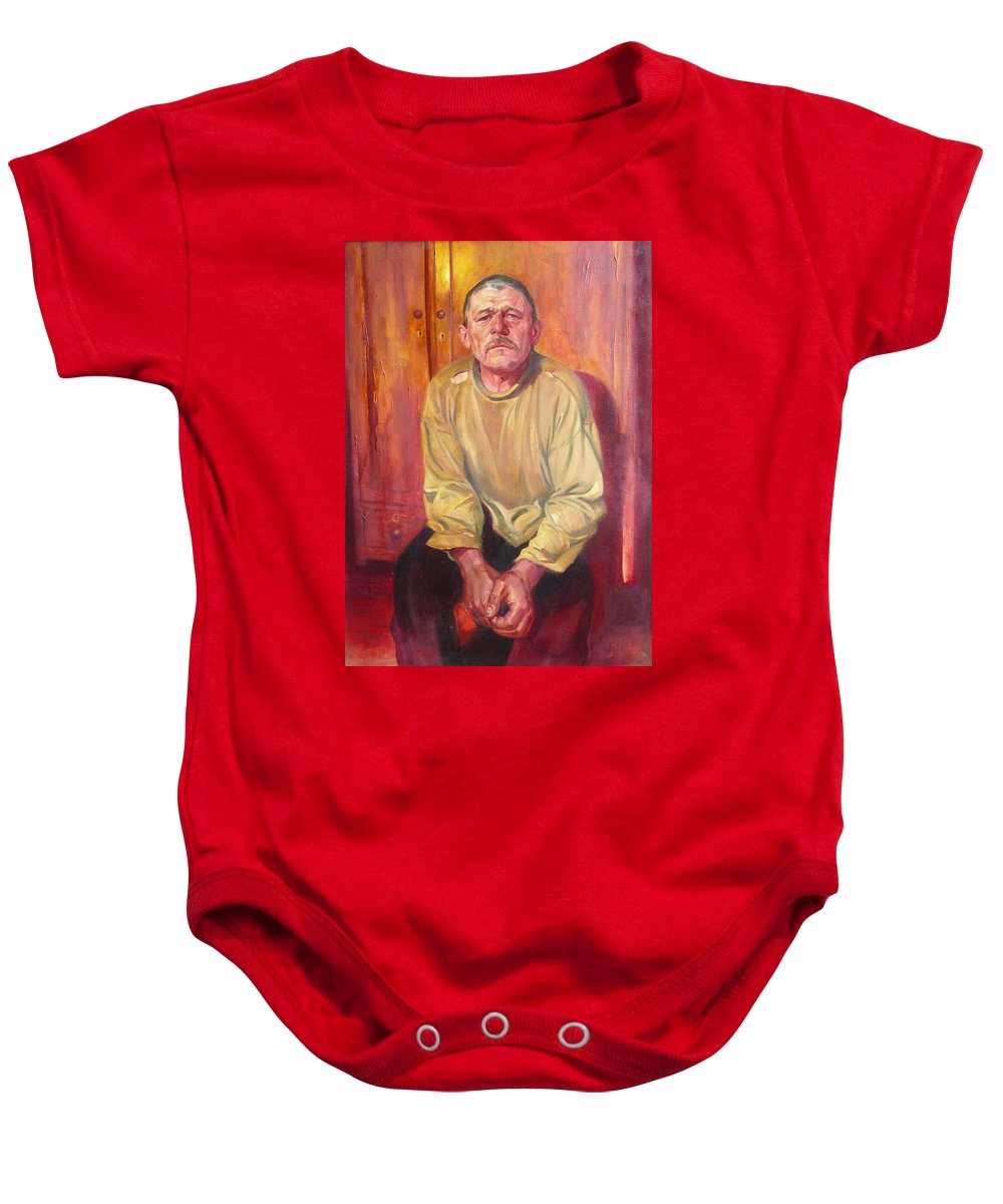 Oil Baby Onesie featuring the painting Inhabitant Of Chernobyl Zone by Sergey Ignatenko