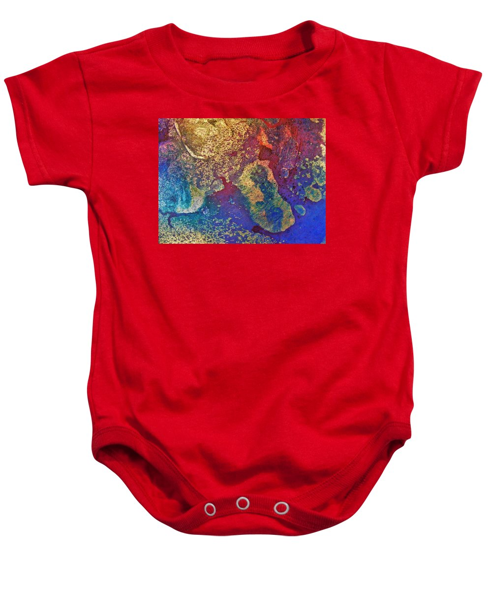 Metallic Baby Onesie featuring the painting Ink Puddles by Darla J Bower Oder