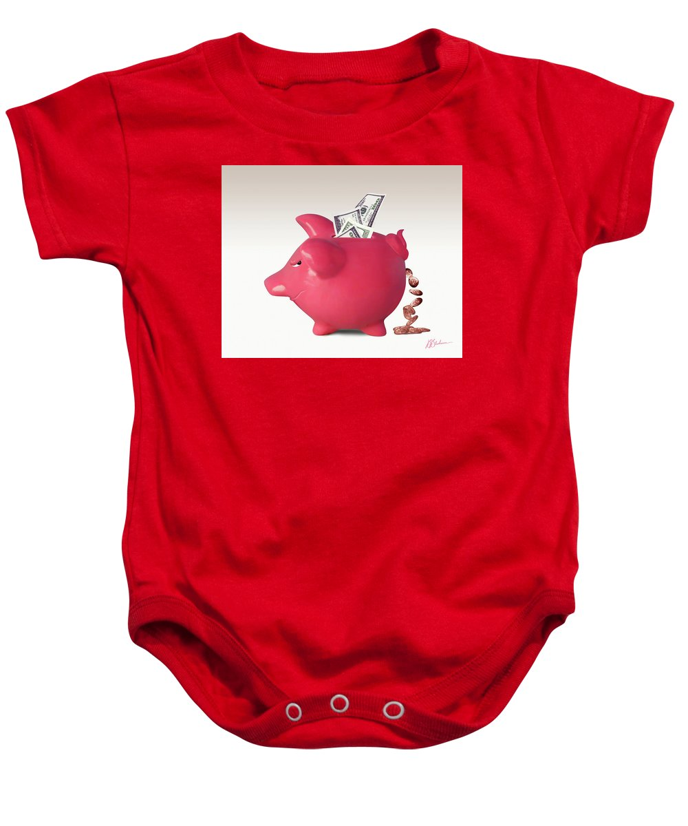 Banks Baby Onesie featuring the digital art Interest Is A Lot Of... by Barry Blackman