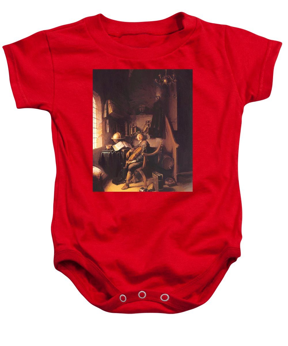 Interior Baby Onesie featuring the painting Interior With A Young Violinist 1637 by Dou Gerrit