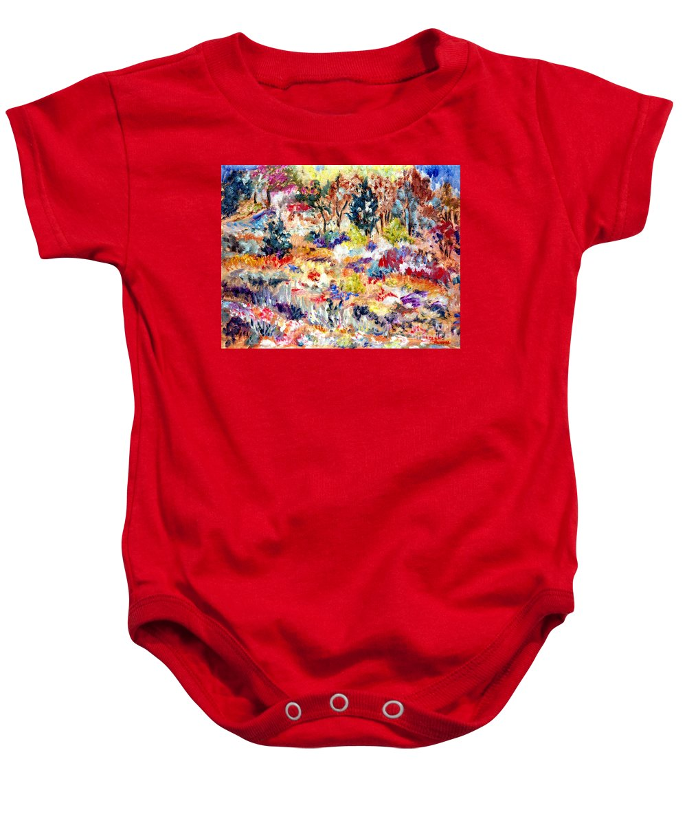 Woods Baby Onesie featuring the painting Into The Woods by Pamela Parsons