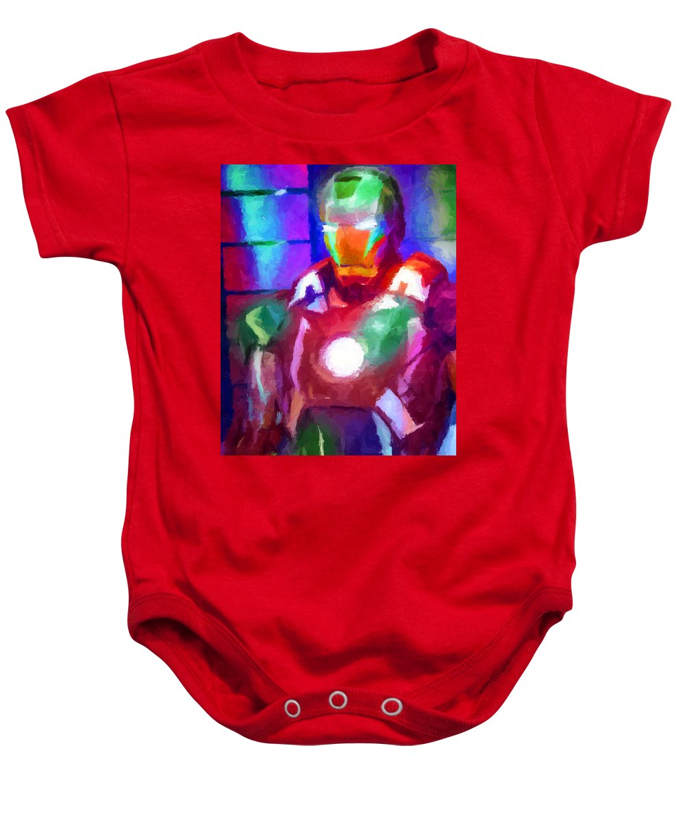 Ironman Baby Onesie featuring the digital art Ironman Abstract Digital Paint 2 by Ricky Barnard
