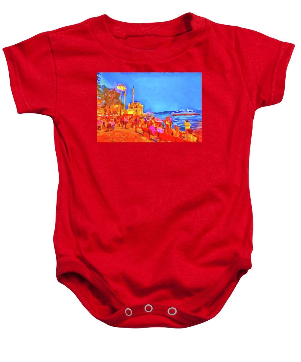 Pop Art Baby Onesie featuring the mixed media Istanbul Pop Art by David Pyatt