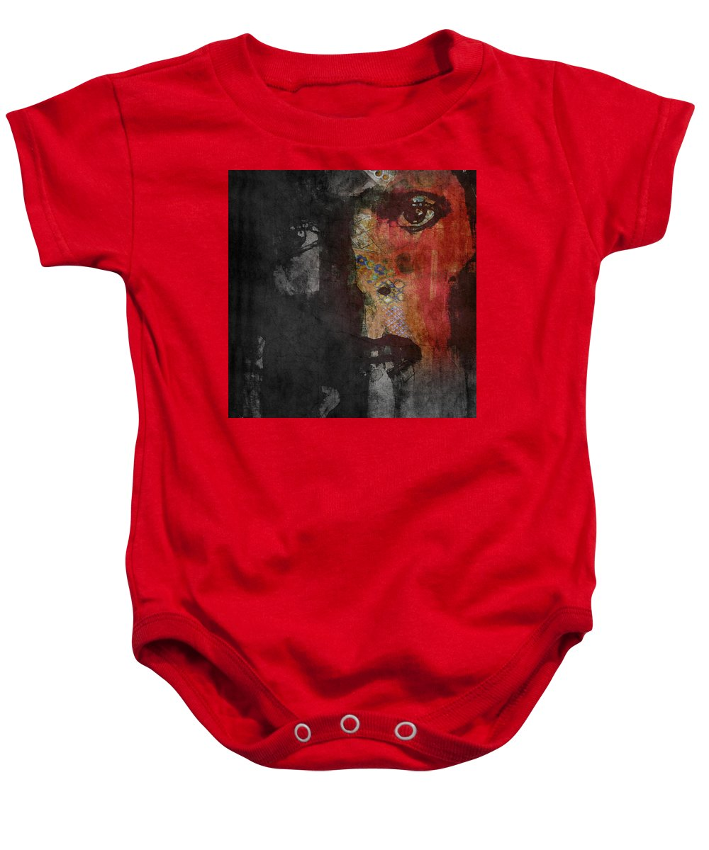 David Bowie Baby Onesie featuring the painting Jamming Good With Wierd And Gilly by Paul Lovering