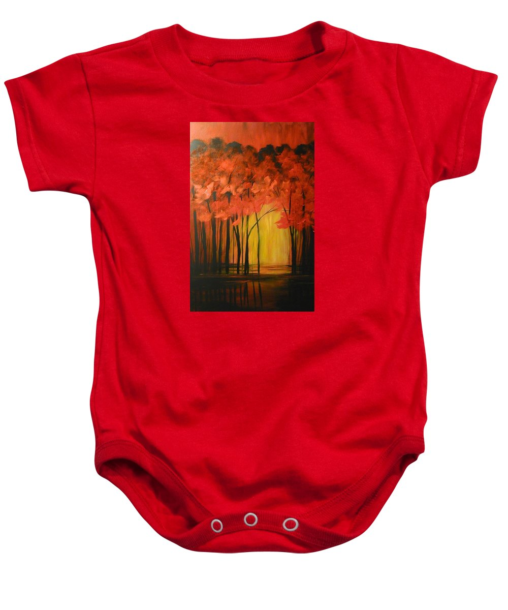 Abstract Baby Onesie featuring the painting Japanese Forest by Sabina Surya Naya