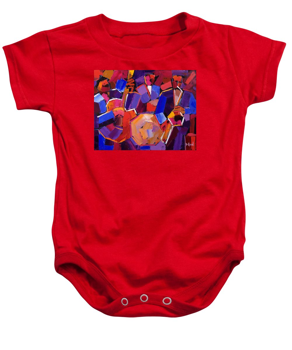 Jazz Baby Onesie featuring the painting Jazz Angles Two by Debra Hurd