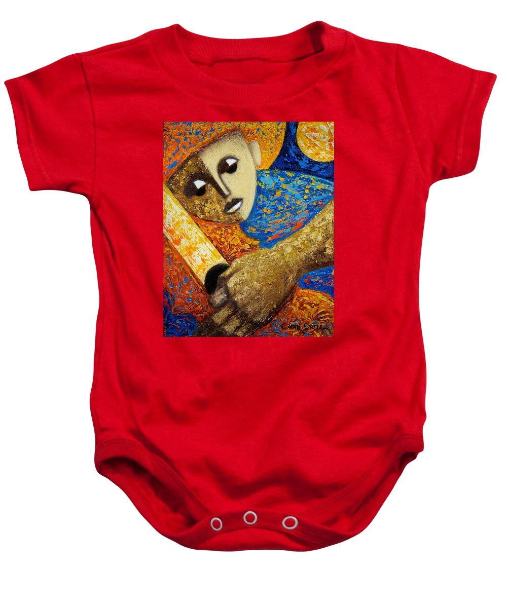Color Baby Onesie featuring the painting Jibaro Y Sol by Oscar Ortiz