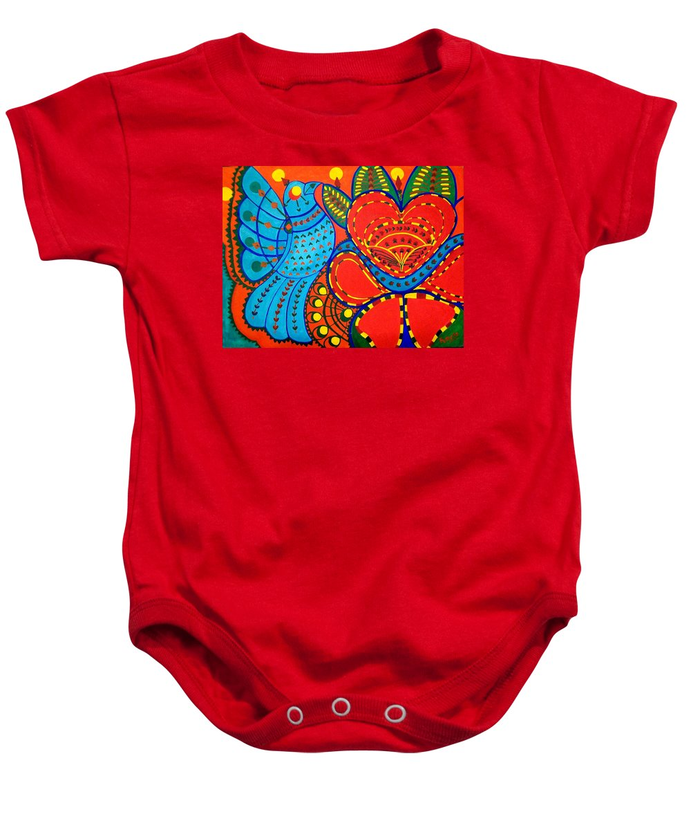 Contemporary Folk Baby Onesie featuring the painting Jinga Bird - Jinga Bird Series by Fareeha Khawaja