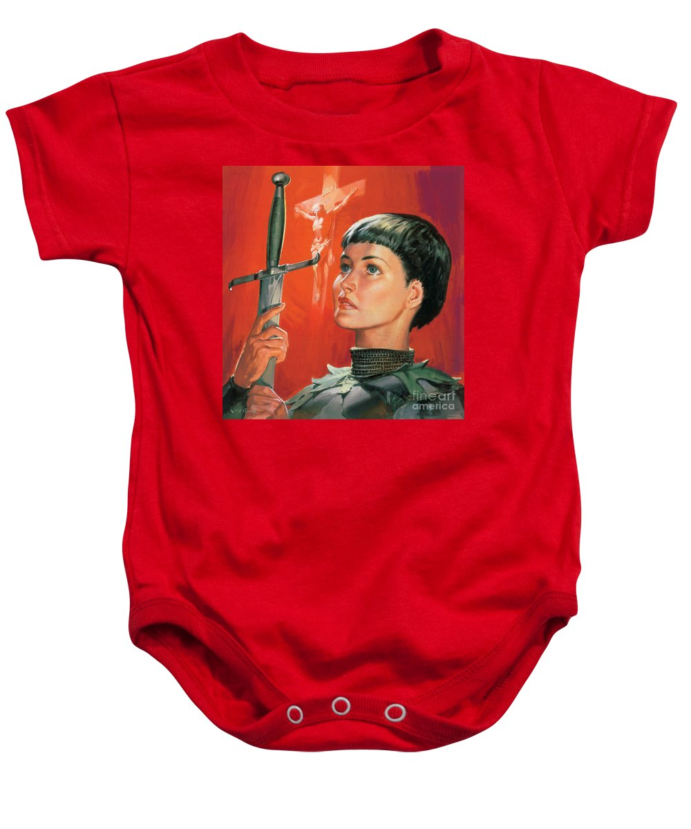 Joan Baby Onesie featuring the painting Joan Of Arc by James Edwin McConnell