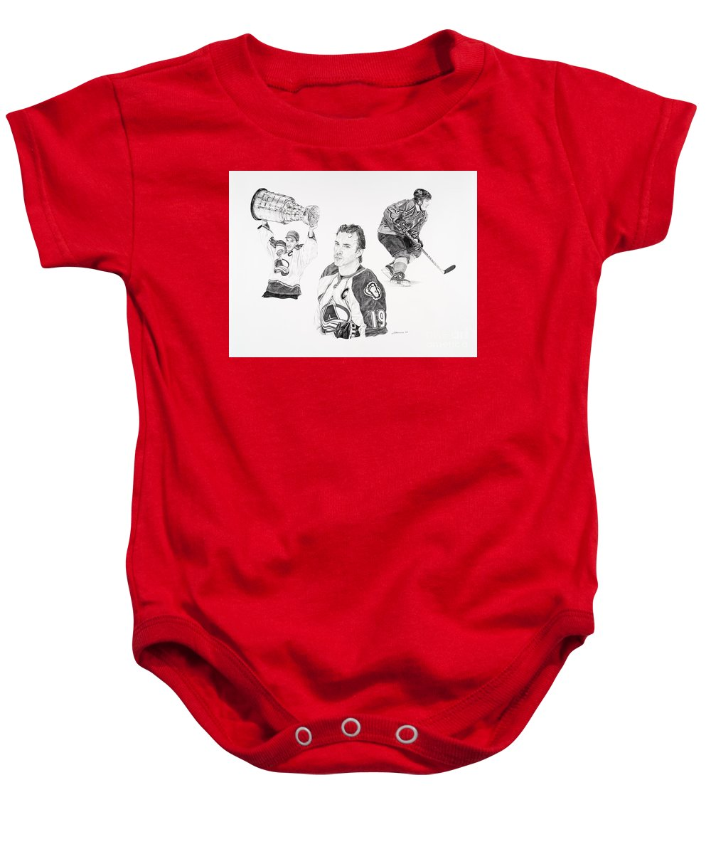 Hockey Baby Onesie featuring the drawing Joe Sakic by Shawn Stallings
