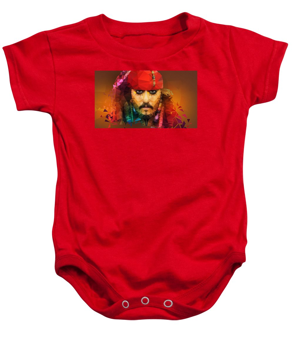 Johnny Depp Baby Onesie featuring the painting Johnny Depp As Jack Sparrow by Nishith Ram