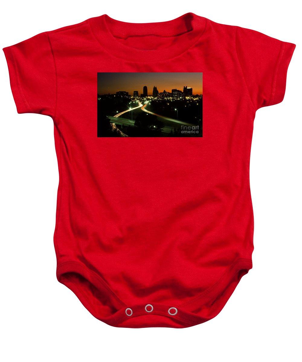 Kansas City Baby Onesie featuring the photograph Kansas City Skyline, 1981 by Dwayne Pounds