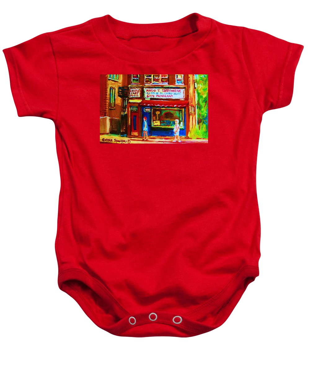 Small Cute Store Baby Onesie featuring the painting Keys To The Summer by Carole Spandau
