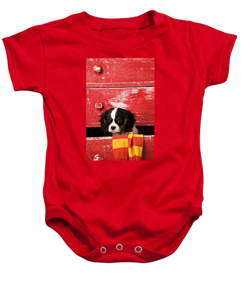 Puppy Baby Onesie featuring the photograph King Charles Cavalier Puppy by Garry Gay