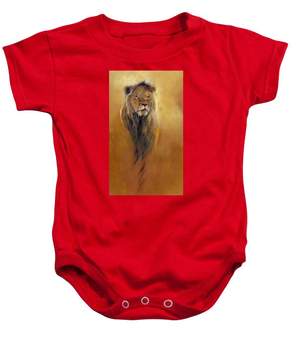 Animal; Furry; Lion; Wild Animal; Predator: King: Leo Baby Onesie featuring the painting King Leo by Odile Kidd