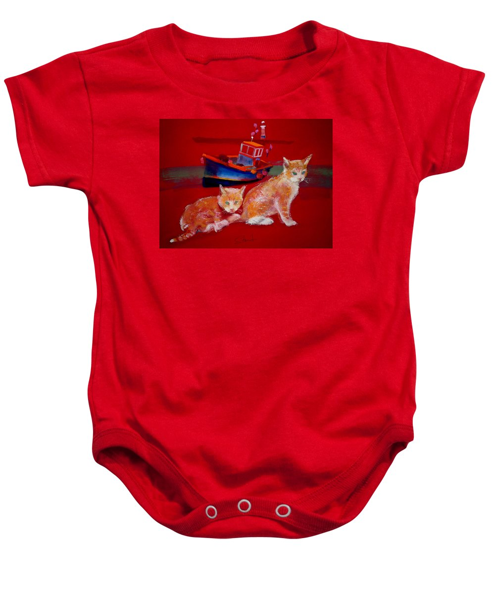 Kittens Baby Onesie featuring the painting Kittens On The Beach by Charles Stuart