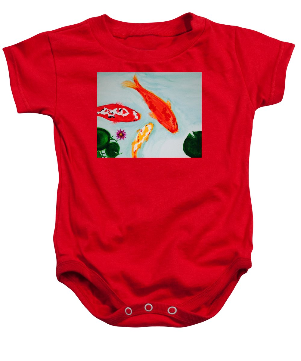 Koi Baby Onesie featuring the painting Koi Fish by Robin Lang