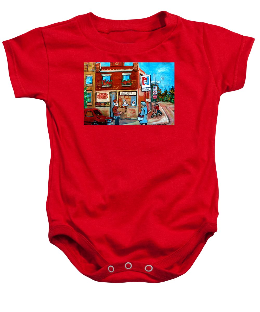 Kosher Bakery Baby Onesie featuring the painting Kosher Bakery On Hutchison Street by Carole Spandau