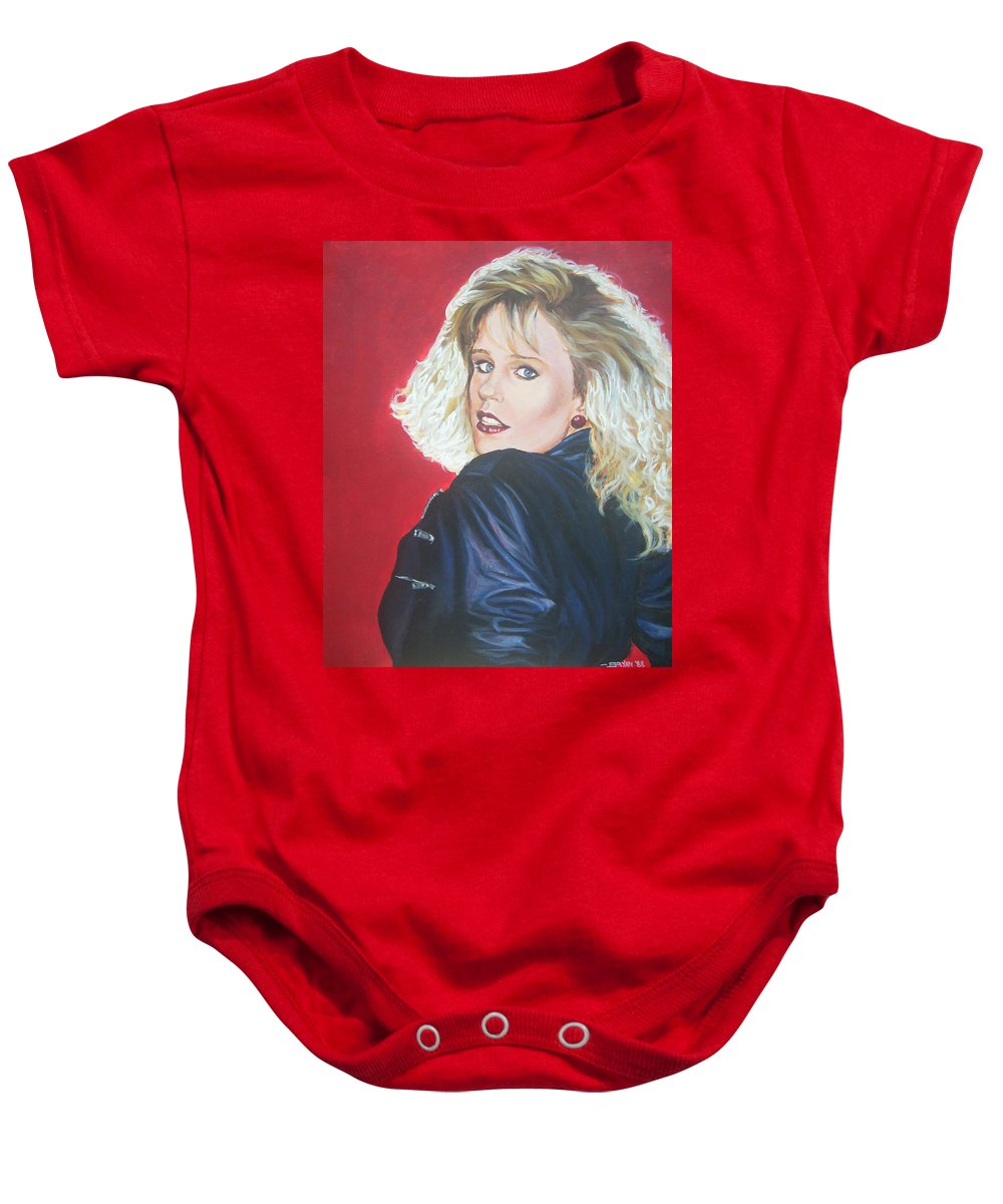 Blonde Baby Onesie featuring the painting Kristi Sommers by Bryan Bustard