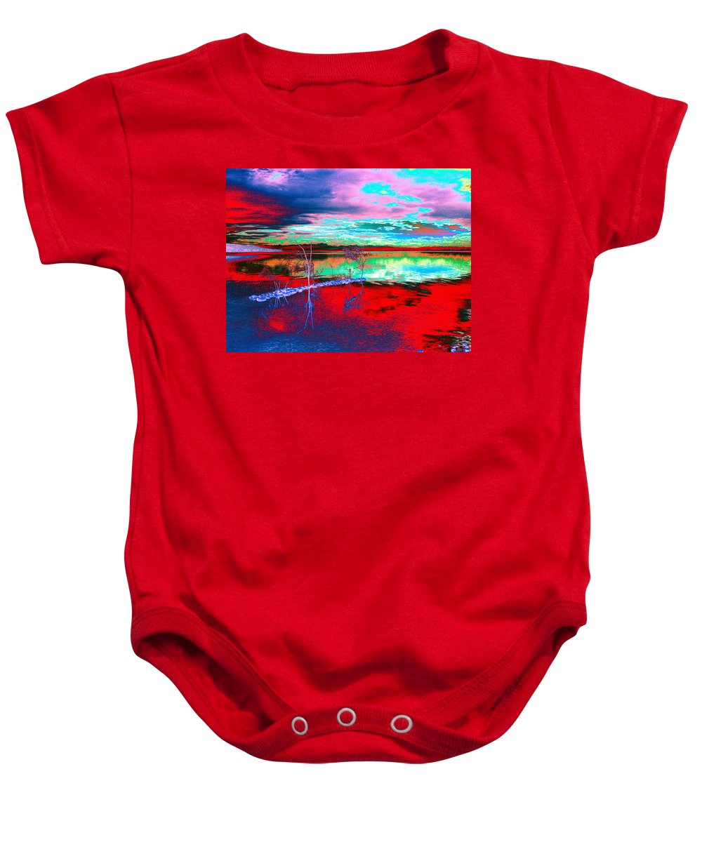 Sea Baby Onesie featuring the digital art Lake In Red by Helmut Rottler