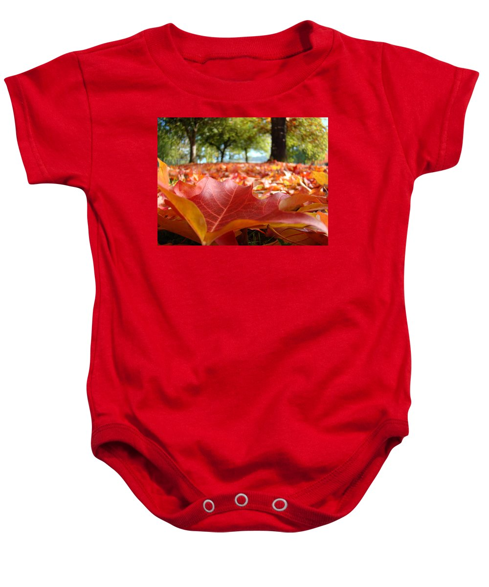 Tree Baby Onesie featuring the photograph Landscape Trees Park Art Prints Autumn Fall Leaves Baslee Troutman by Baslee Troutman