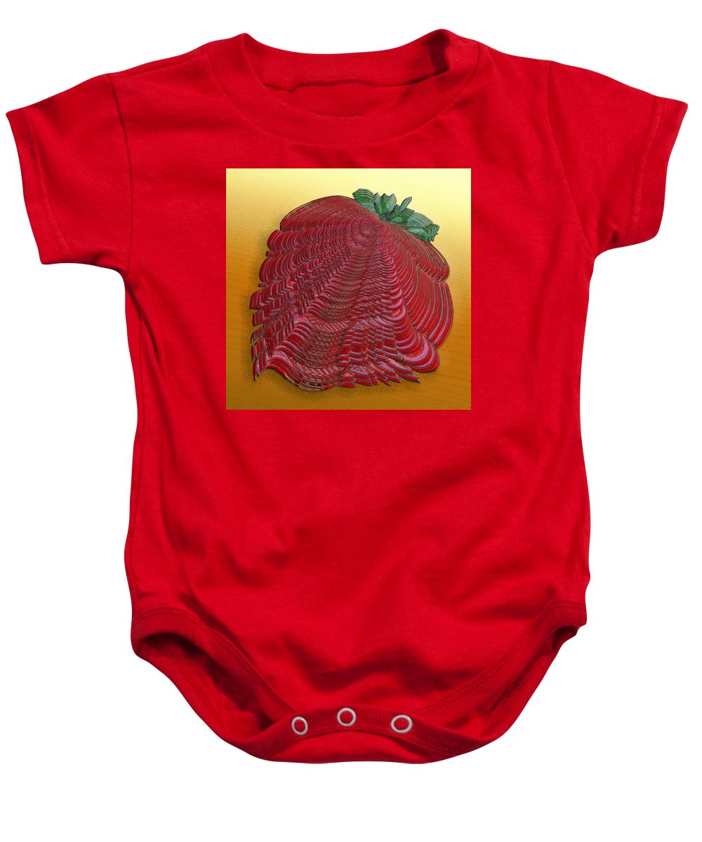 Surrealism Baby Onesie featuring the digital art Large Strawberry Scallop by Mark Sellers