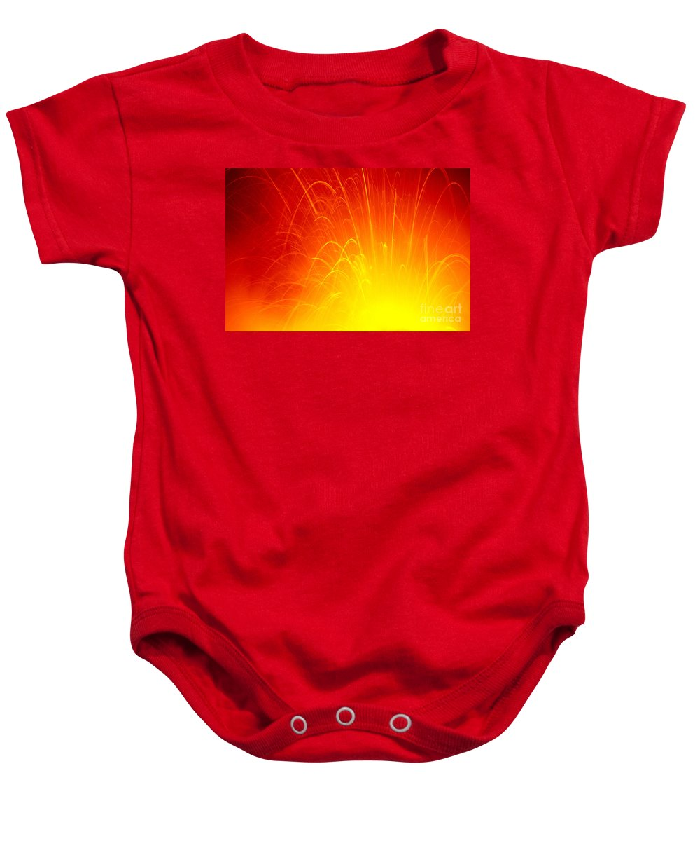 A'a Baby Onesie featuring the photograph Lava Explodes Into Ocean by Peter French - Printscapes