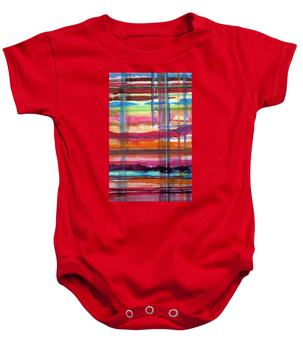 Abstract Baby Onesie featuring the painting Layered by Suzanne Udell Levinger